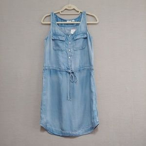 Cato Chambray Denim Drawstring Waist Mini Dress